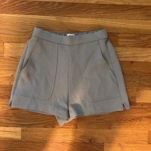 Aritzia light grey linen shorts